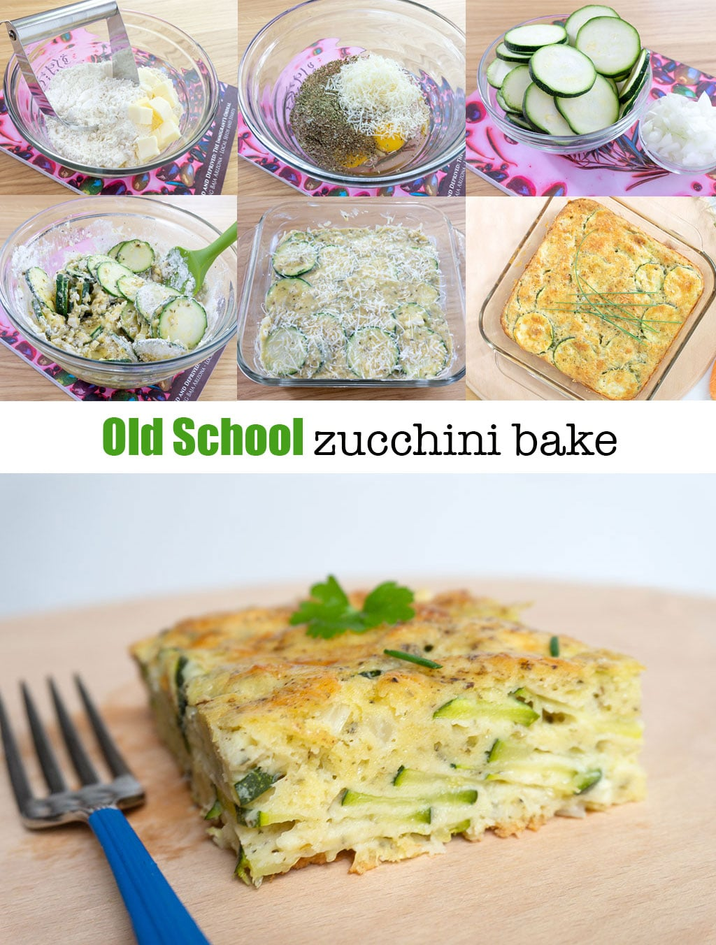 Step by Step Photos for making Baked Zucchini Pie