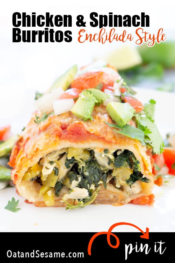Making a big casserole dish full of these Chicken and Spinach Burritosfeeds a crowd! They are stuffed with chicken marinated in a bright jalapeño lime sauce. Mixed with spinach and green chilis. Topped withplenty of salsa and cheese, then baked to create an enchilada style burrito. #BURRITOS | #CHICKEN | #ENCHILADAS | #Recipes at OatandSesame.com