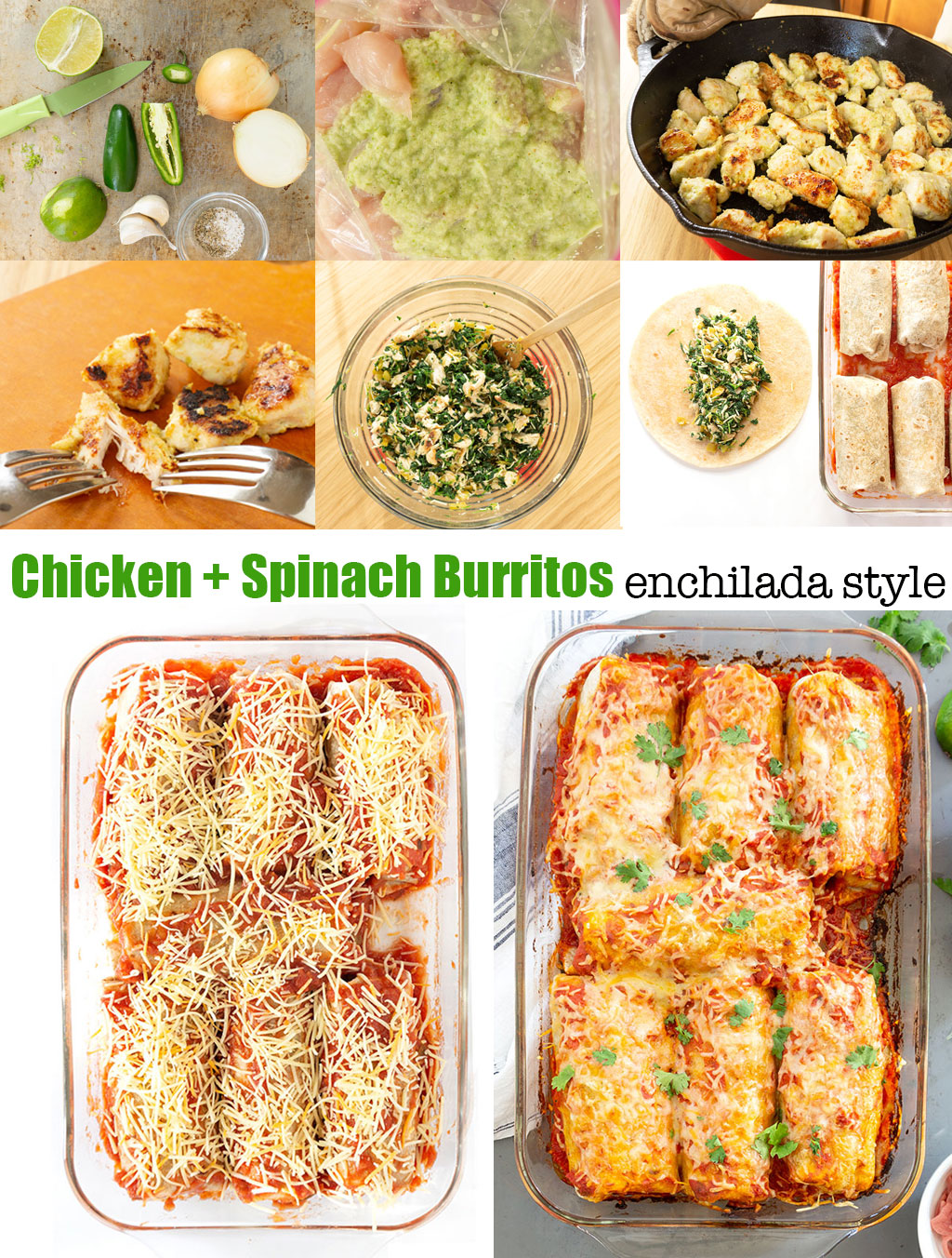 Step by Step Photos for Making Chicken and Spinach Burritos