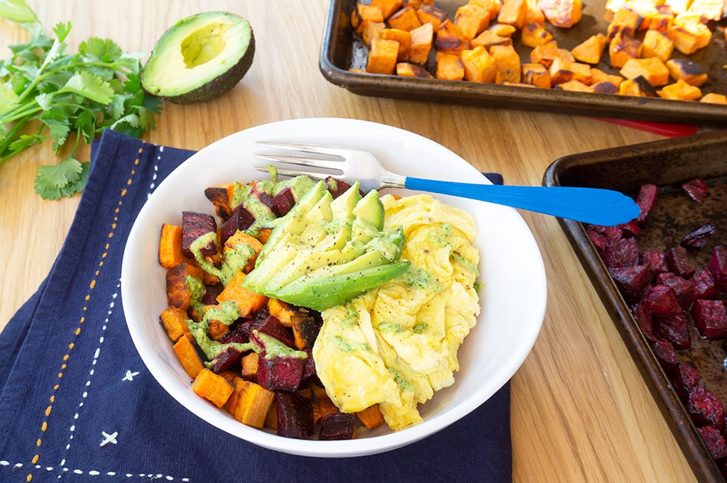 Sweet Potato Hash Bowl with Cilantro Pesto