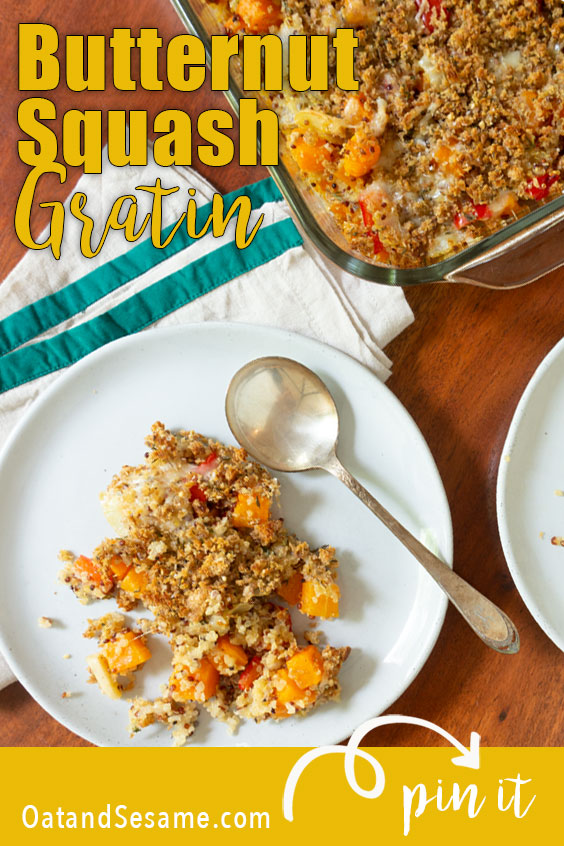 With a crispy top, this Butternut Squash Gratin is packed with quinoa, red pepper, squash and gruyere. It makes a great vegetarian side dish or main dish. Perfect for the holidays and easily made ahead of time! | #BUTTERNUT SQUASH | #HOLIDAY SIDES | #GRATIN | #VEGETARIAN | #Recipes at OatandSesame.com