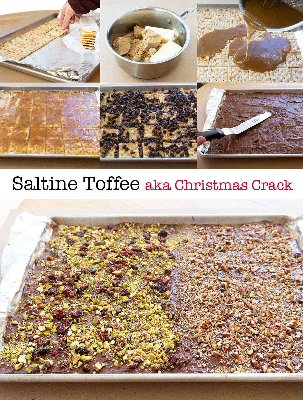 Step by Step photos for making saltine toffee aka Christmas Crack