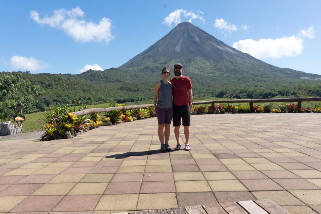 Us with Arenal in background