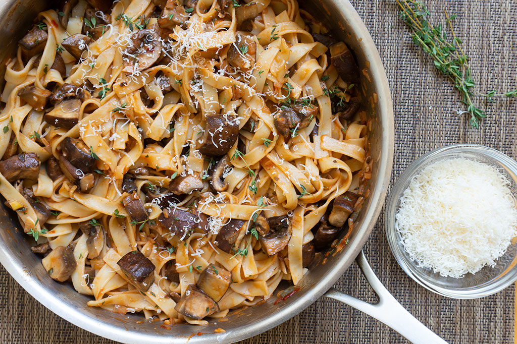 Portabella Mushroom Pasta in saute pan