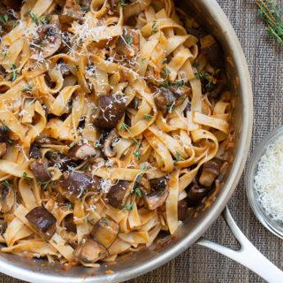 Mushroom pasta in pan