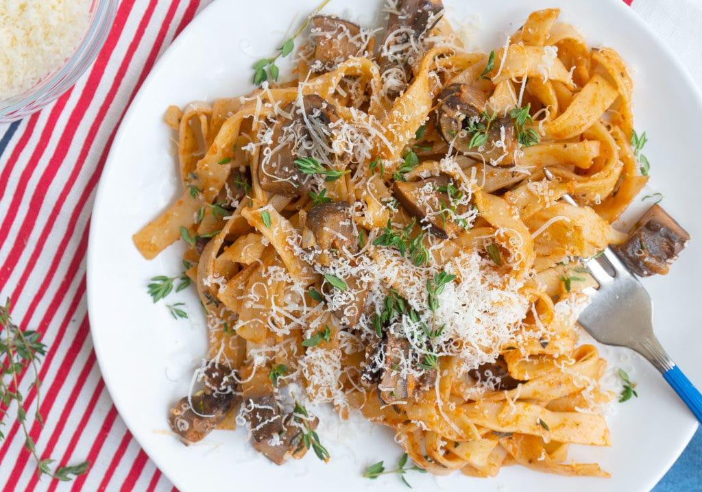 Mushroom & Thyme Pasta overhead view on plate