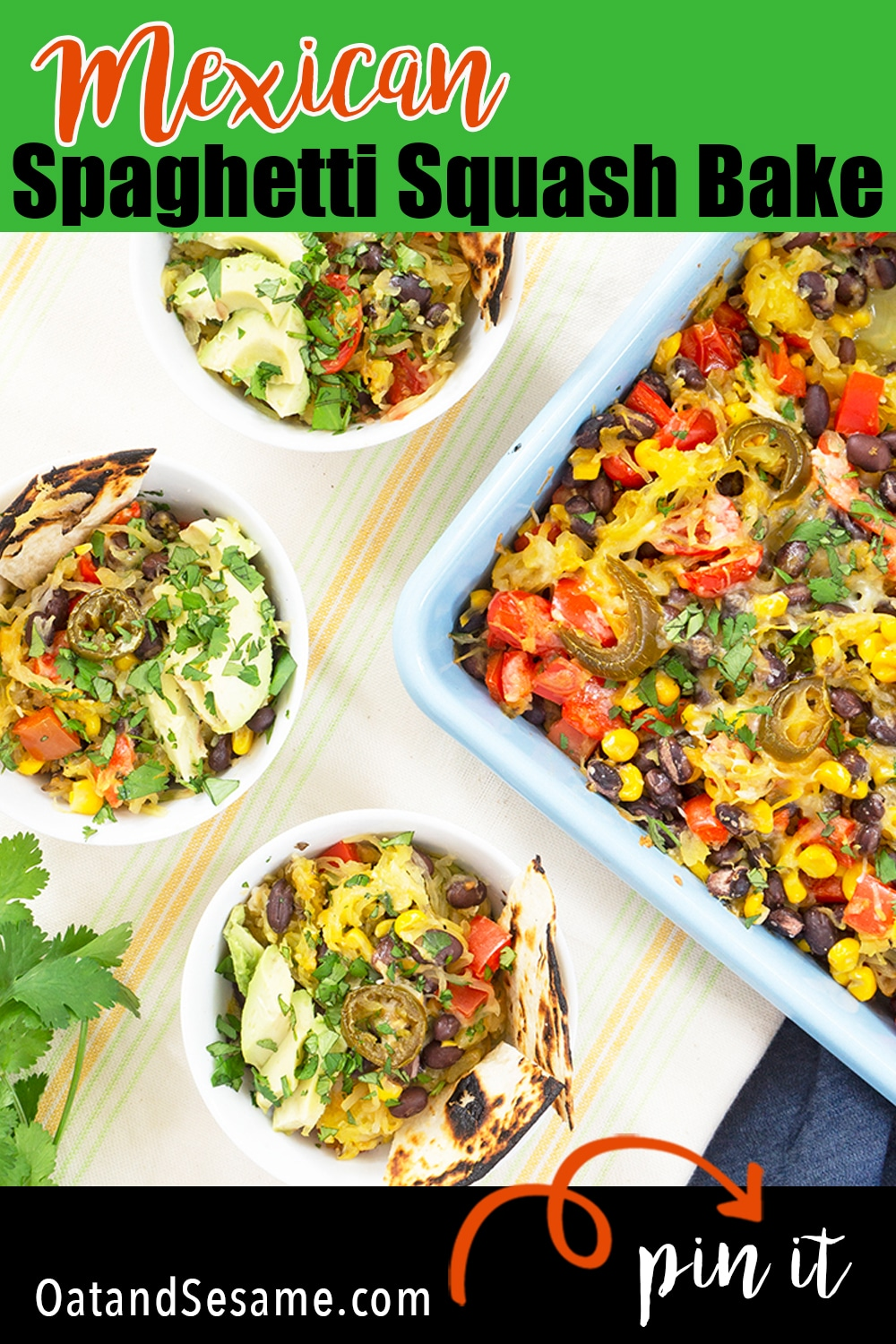 Mexican Spaghetti Squash Bake is an easy weeknight casserole made with black beans, bell pepper, cherry tomatoes, corn and green chilies. Served with sliced avocado, shredded cheese and pickled jalapeños. | #VEGETARIANRecipes | #SPAGHETTISQUASH | #CASSEROLERECIPE | #GLUTENFREEDINNERS | #HEALTHYRecipes at OatandSesame.com
