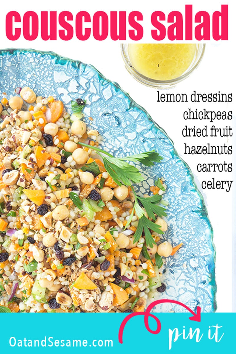 North by Northwest Couscous Salad was inspired by a trip to Seattle. Chickpeas, hazelnuts, apricots and bright lemon dressing mix to create a light and fresh dish. | #VEGETARIAN | #VEGAN | #COUSCOUS | #SALAD | #Recipes at OatandSesame.com