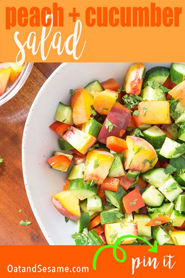 chopped Peaches + Cucumbers in a salad bowl overhead shot
