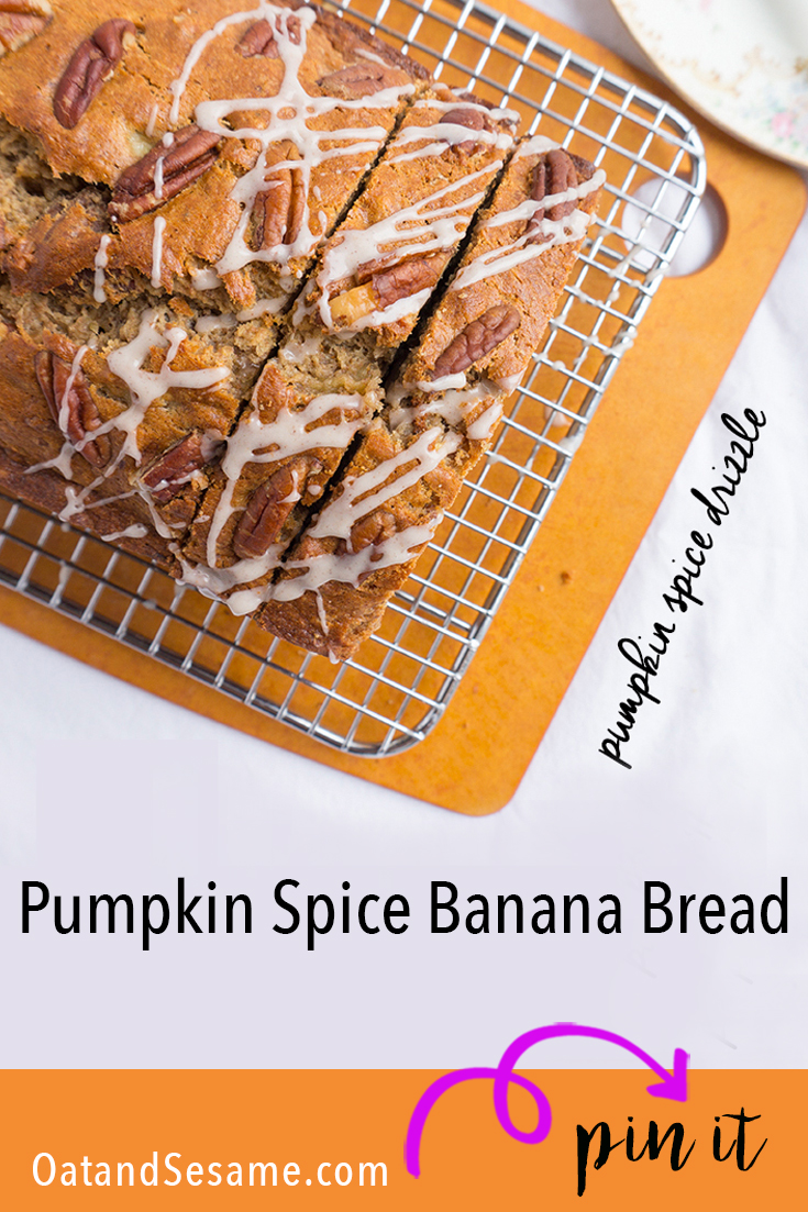 sliced banana bread with drizzle of frosting