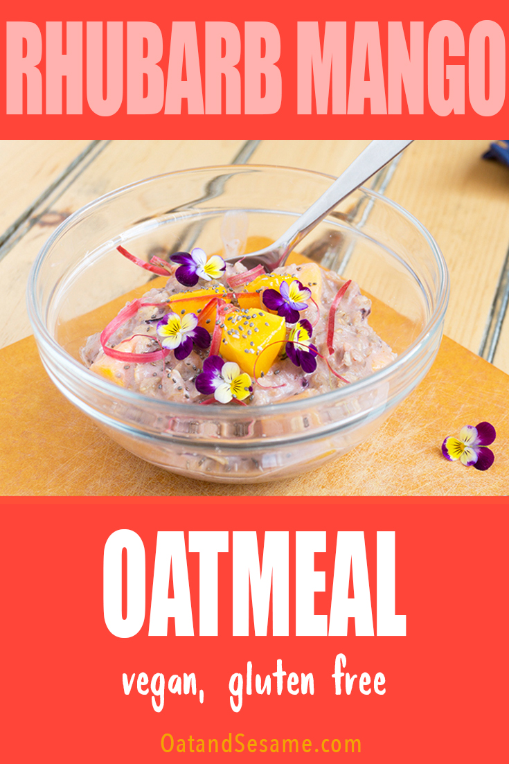 Rhubarb Mango Oatmeal dressed with flowers