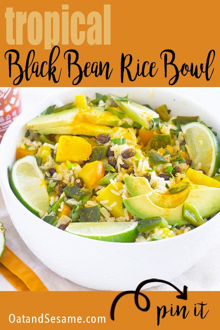 White Bowl of white rice, black beans, mango