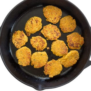 Falafel patties in cast iron pan