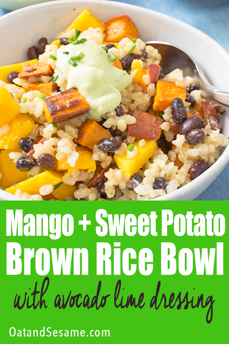 Brown Rice, Black Beans, Sweet Potatoes, Mango and Avocado in a bowl