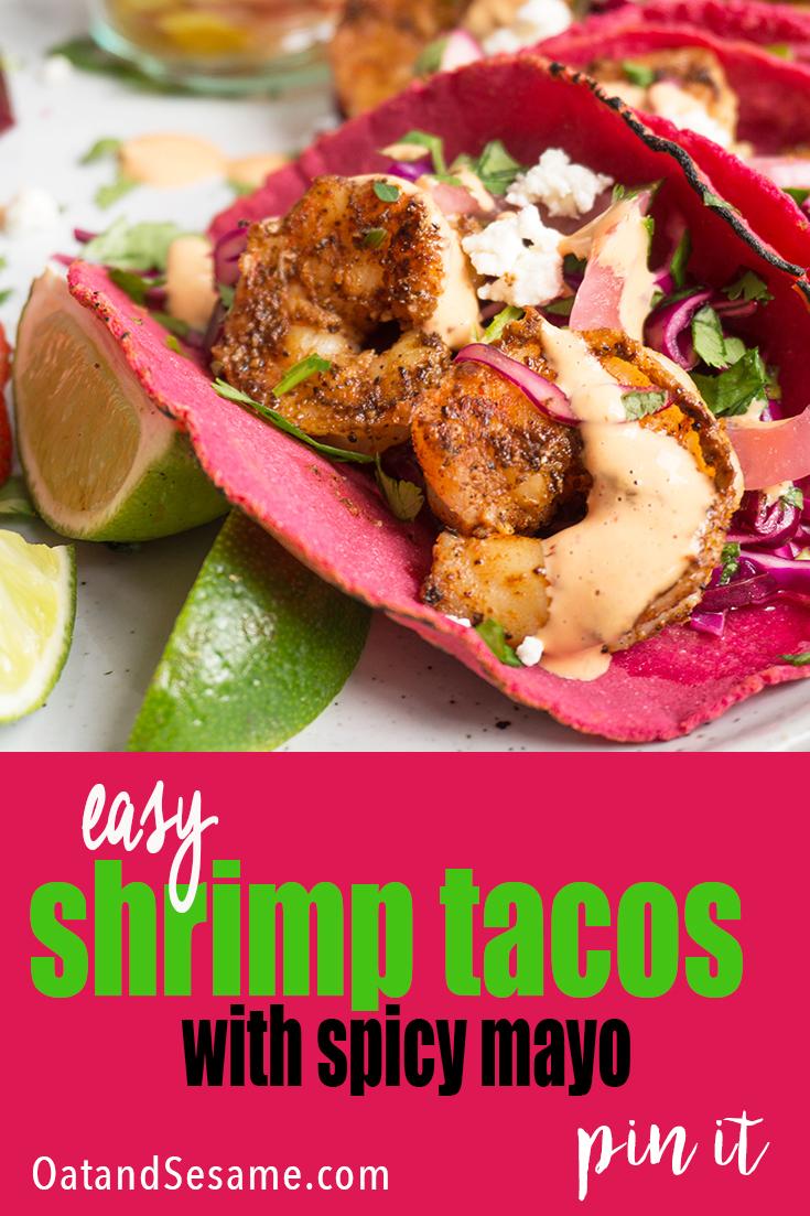 shrimp tacos in pink tortillas