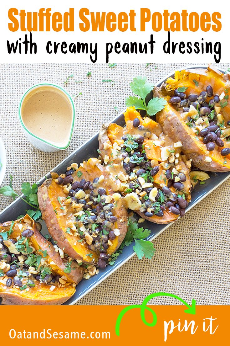 Stuffed Sweet Potatoes on Long Plate