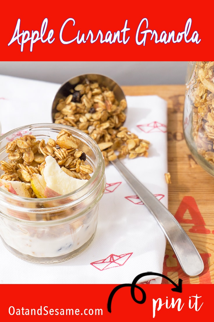 Apple Currant Granola in small jar