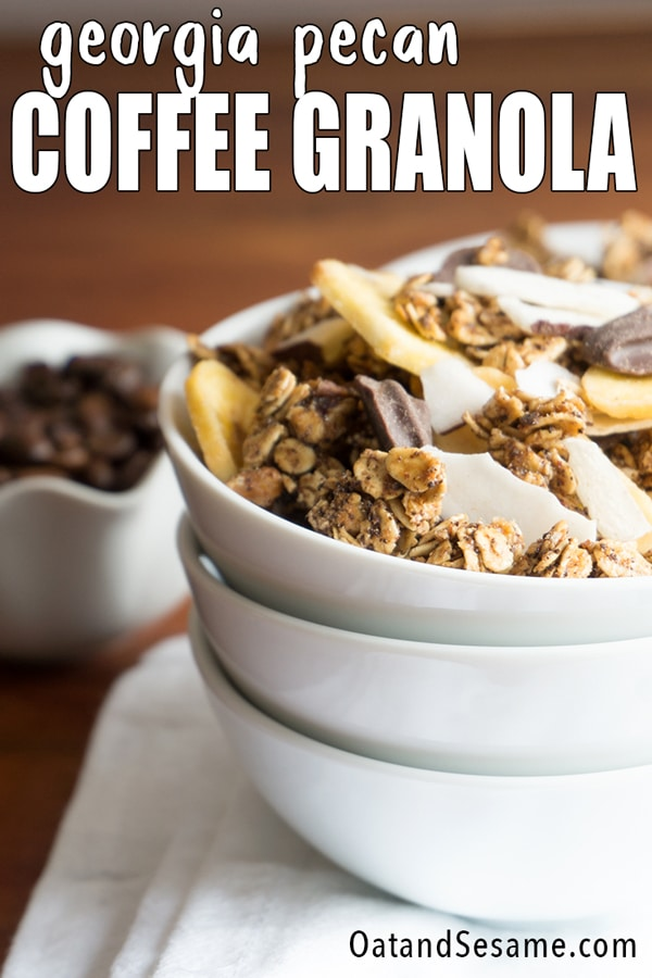 Coffee Granola in white bowl