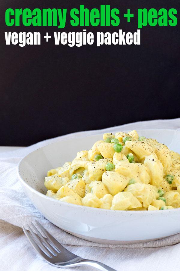 Vegan shell pasta with cauliflower sauce and peas