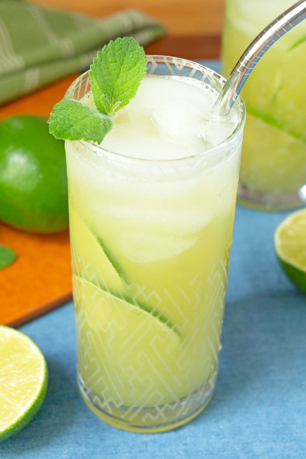 tall glass of cucumber lime water with stainless steel straw