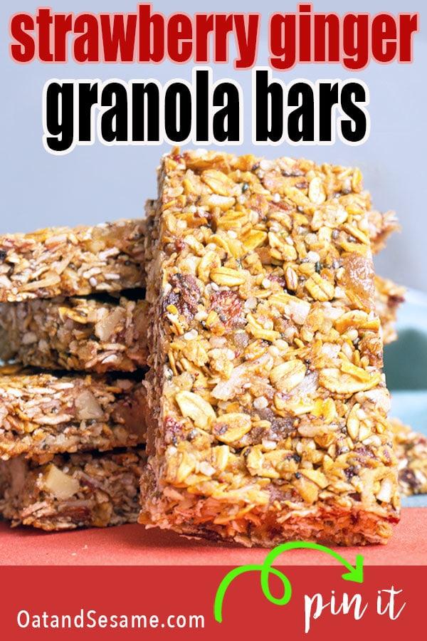 stack of strawberry ginger granola bars