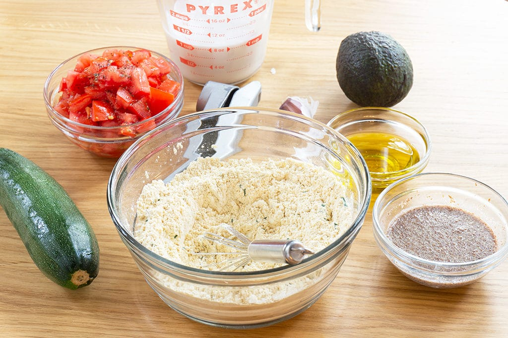 ingredients in small bowls for this healthy waffle recipe