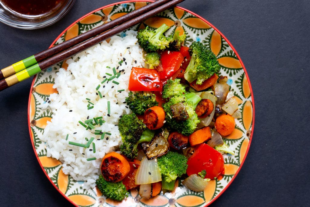 Rice and veggies on plate