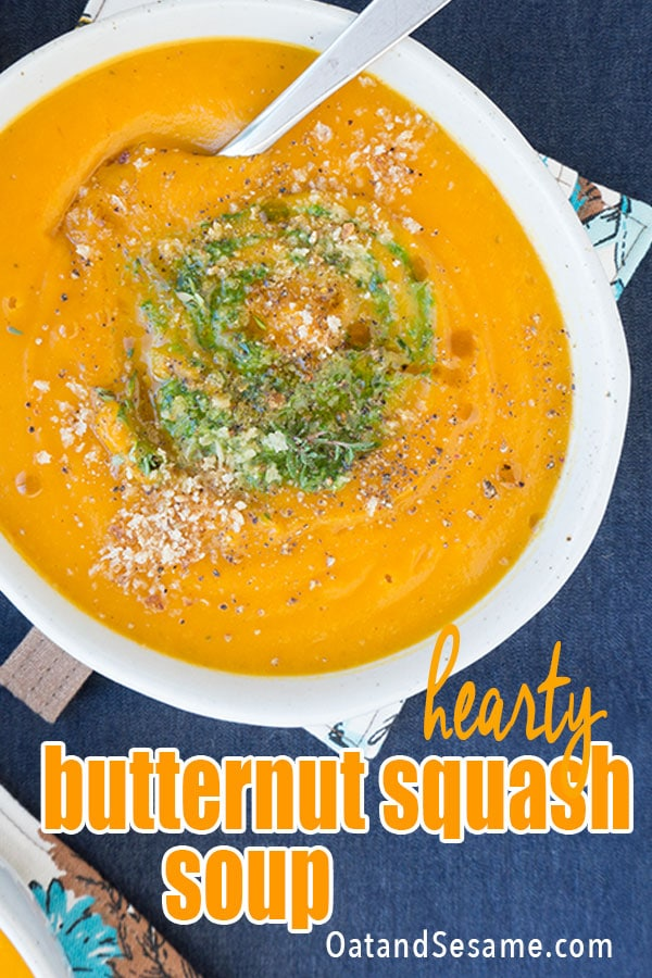 Overhead of butternut squash soup in a bowl