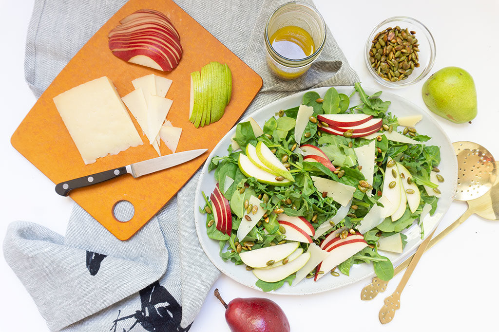Autumn Salad with Pears on a platter