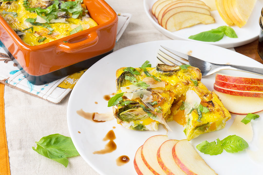 slice of fall vegetable egg bake