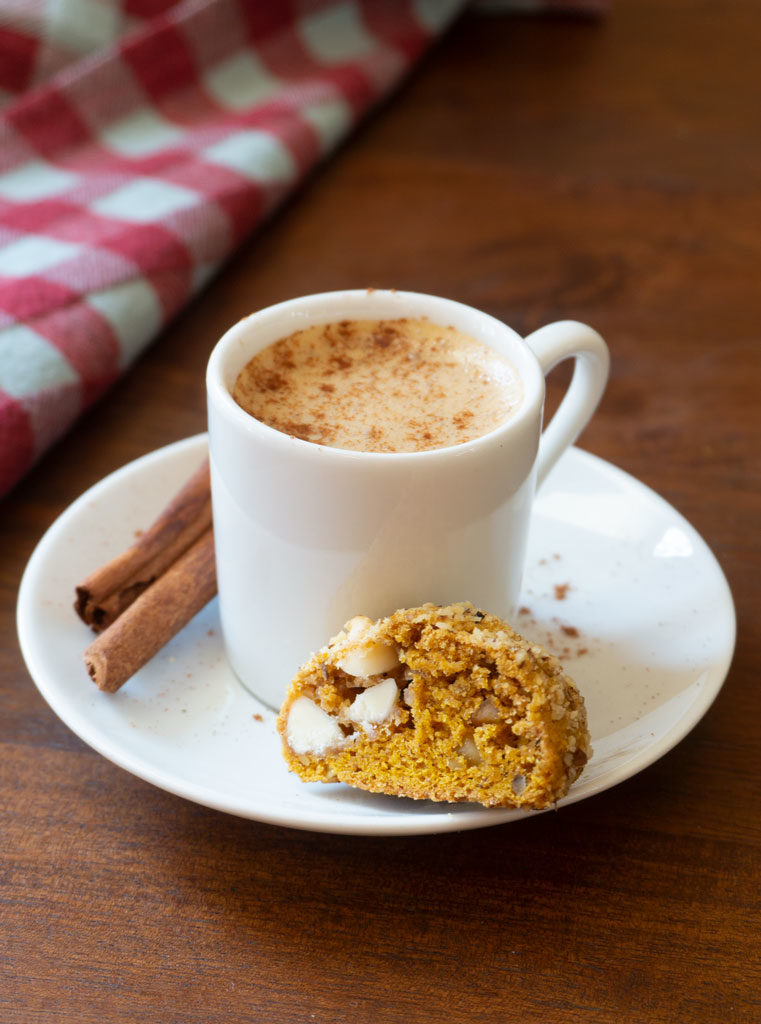 Pumpkin White Chocolate Chip Cookie with coffee