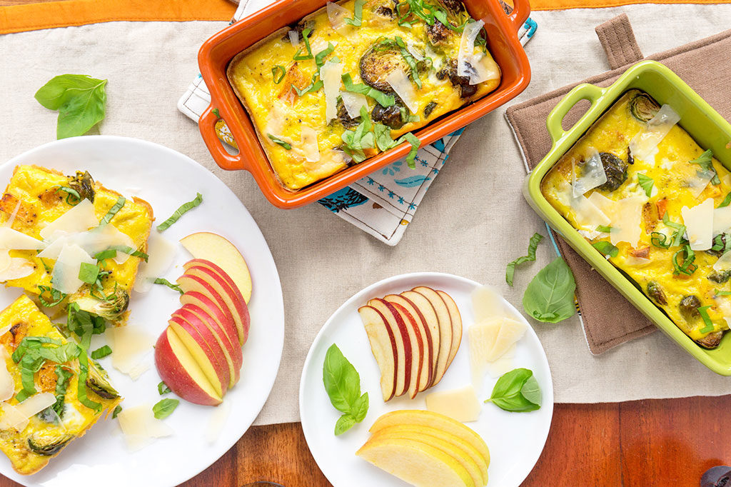 fall vegetable egg casserole with sliced apples