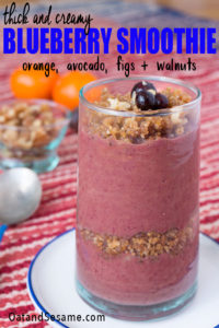 A Smoothie Inspired by Travels to Morocco! Wild Blueberry Smoothie with Avocado, Orange, Fig + Walnuts! Thick and creamy like pudding with layers of fig/walnut crumble | #Figs | #SmoothieRecipes | #BlueberrySmoothie | #HealthyRecipes at OatandSesame.com