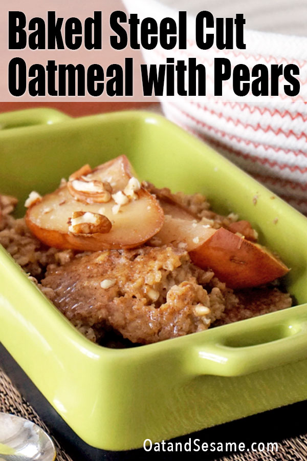 Baked oatmeal in a green dish with pears
