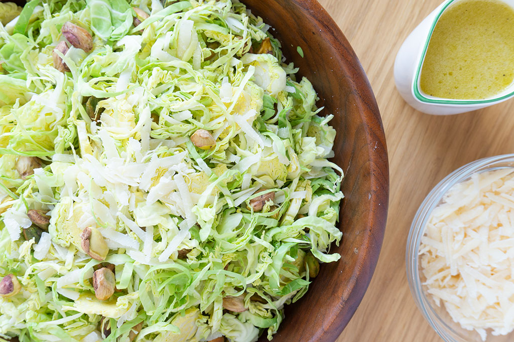 raw brussels sprouts salad close up