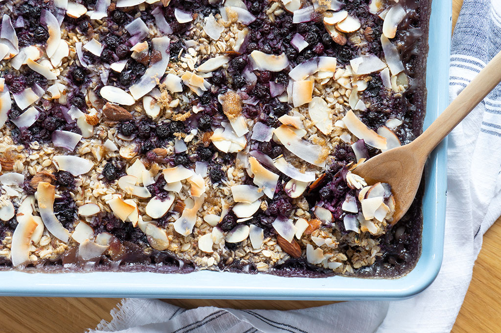 whole pan of blueberry baked oatmeal