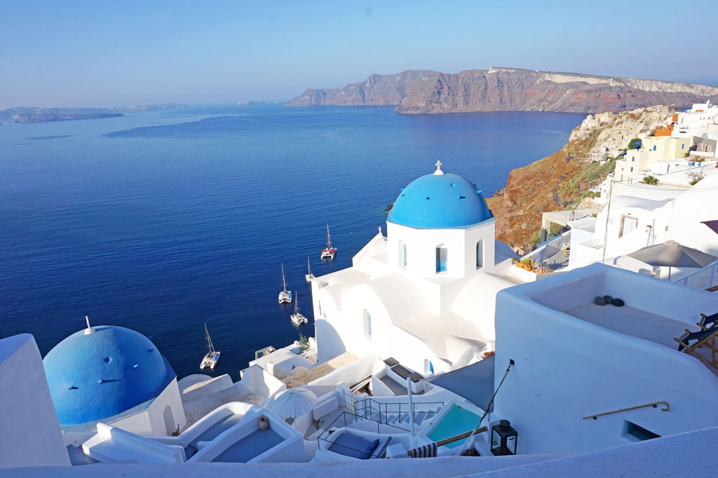 blue dome Oia Santorini