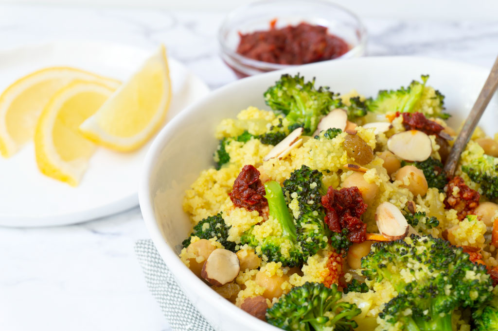 Vegan Broccoli Salad with Couscous close up