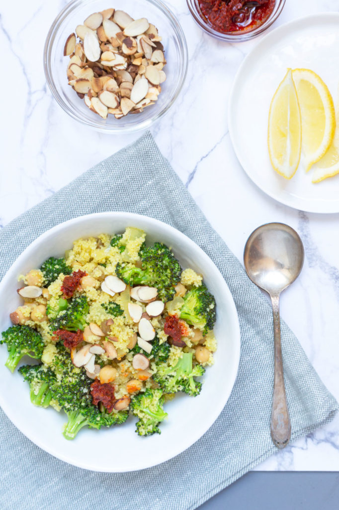 Vegan Broccoli Salad with Couscous with spoon