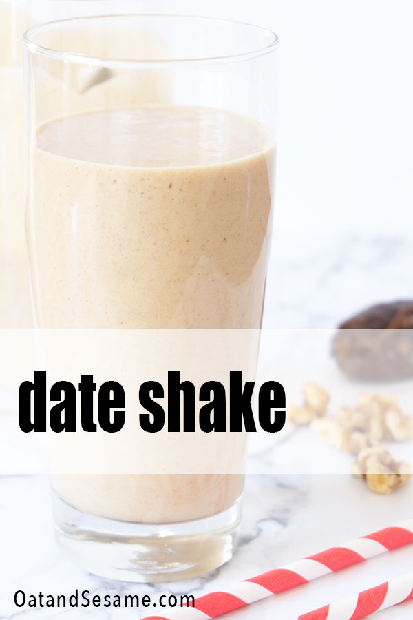 Sweet, smooth and icy cold, this Date Shake is the perfect healthy afternoon snack. Made with just a handful of ingredients - banana, dates, and walnuts - this blend is a real treat! #Dates | #SmoothieIdeas | #DateShake | #VeganSnacks | #HealthySnacks | #HealthyRecipes at OatandSesame.com #oatandsesame