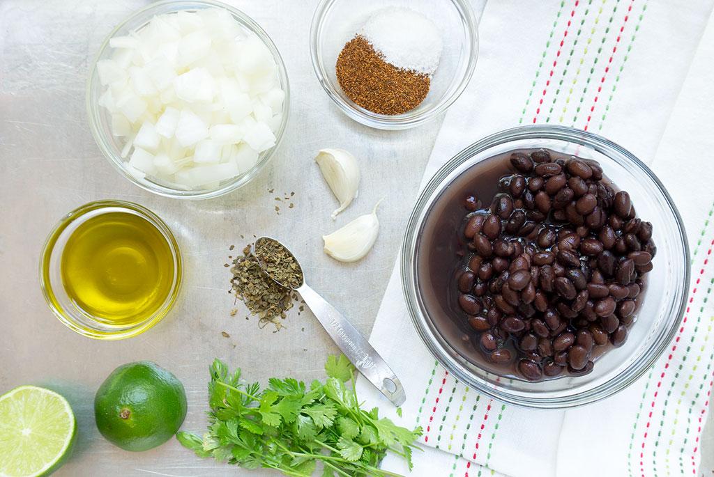 ingredients for vegan black bean dip