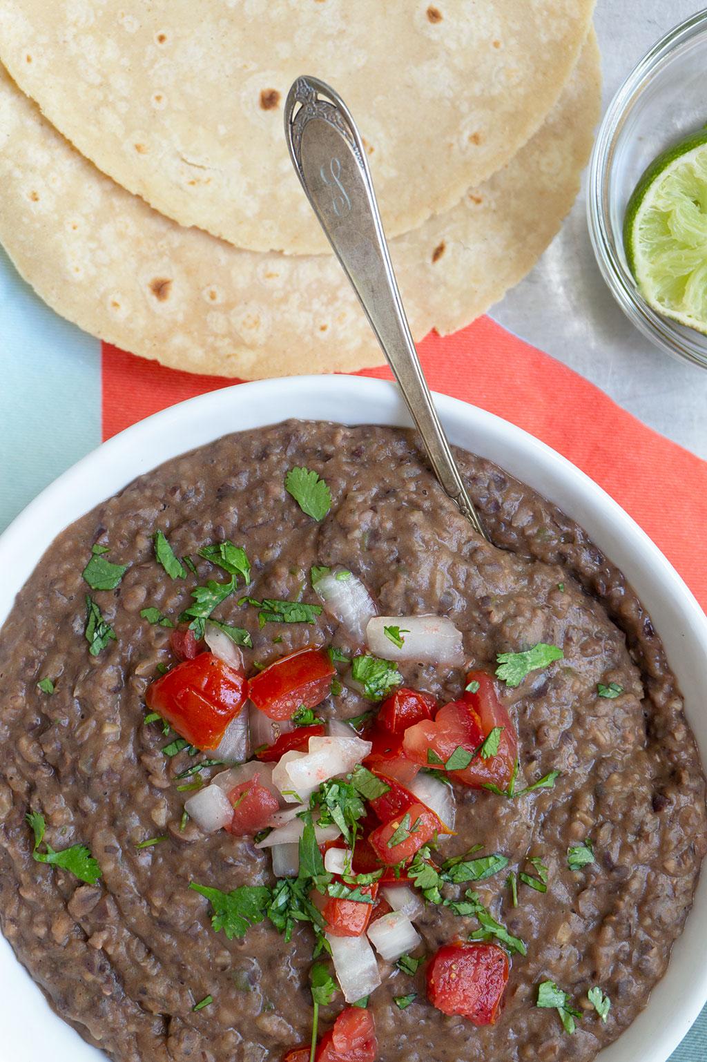 black bean dip with tortillas