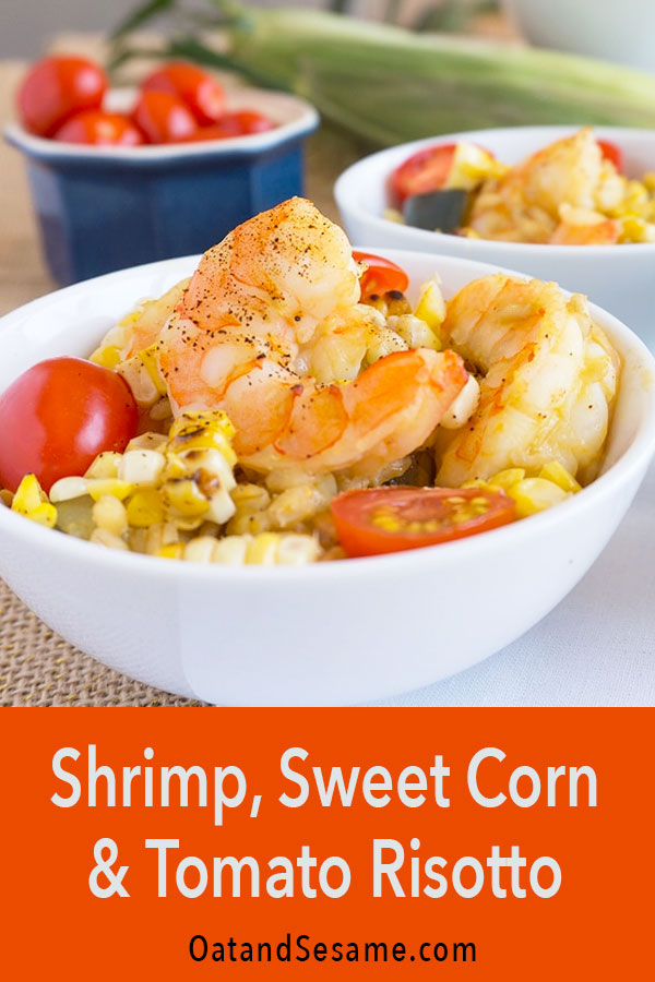 Zucchini and Sweet Corn Risotto features barley instead of rice which adds a nutty flavor to this summer risotto. Topped with seasoned shrimp and cherry tomatoes for a hearty risotto suitable for a summer picnic. #Risotto | #ZucchiniRecipes | #VegetarianRecipes | #HealthyRecipes at OatandSesame.com #oatandsesame