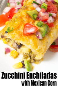 Zucchini Enchiladas with Mexican Corn Salad -These Zucchini Enchiladas are stuffed with Mexican corn salad (elote) and black beans, then covered in a creamy salsa verde and baked to perfection. Topped with pico de gallo, this summer rendition of enchiladas takes your zucchini bounty to the next level. #ZucchiniRecipes | #Elote | #MexicanCornSalad | #Enchiladas | #VegetarianDinnerIdeas | #HealthyRecipes at OatandSesame.com #OatandSesame
