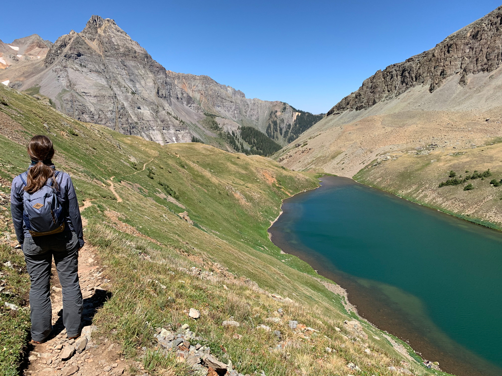 Blue Lakes Trail Telluride, Colorado, Greenish blue lake with mountains surrounding