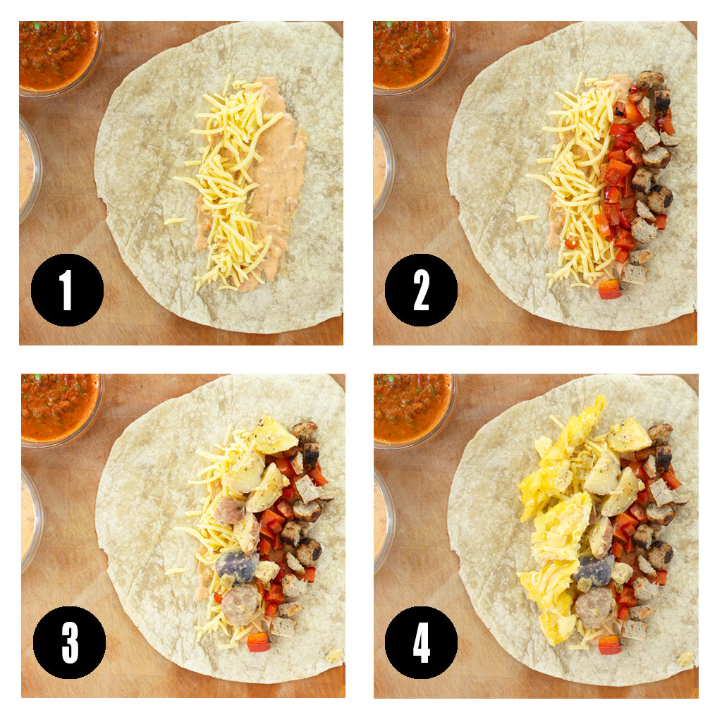 4 step photos for stuffing breakfast burritos