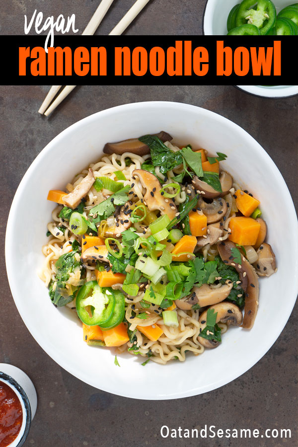 These homemade ramen noodles are packed with mushrooms, sweet potato and spinach. Done in about 30 minutes. Your kitchen will be filled with the incredible scents of onions, garlic, ginger and spices while you wait to slurp up a huge bowl of noodles. #RAMENNOODLES | #VEGANDINNER | #NOODLES | #SOUP | #VEGETARIANRECIPES | #ASIANNOODLES | #HealthyRecipes at OatandSesame.com #OatandSesame