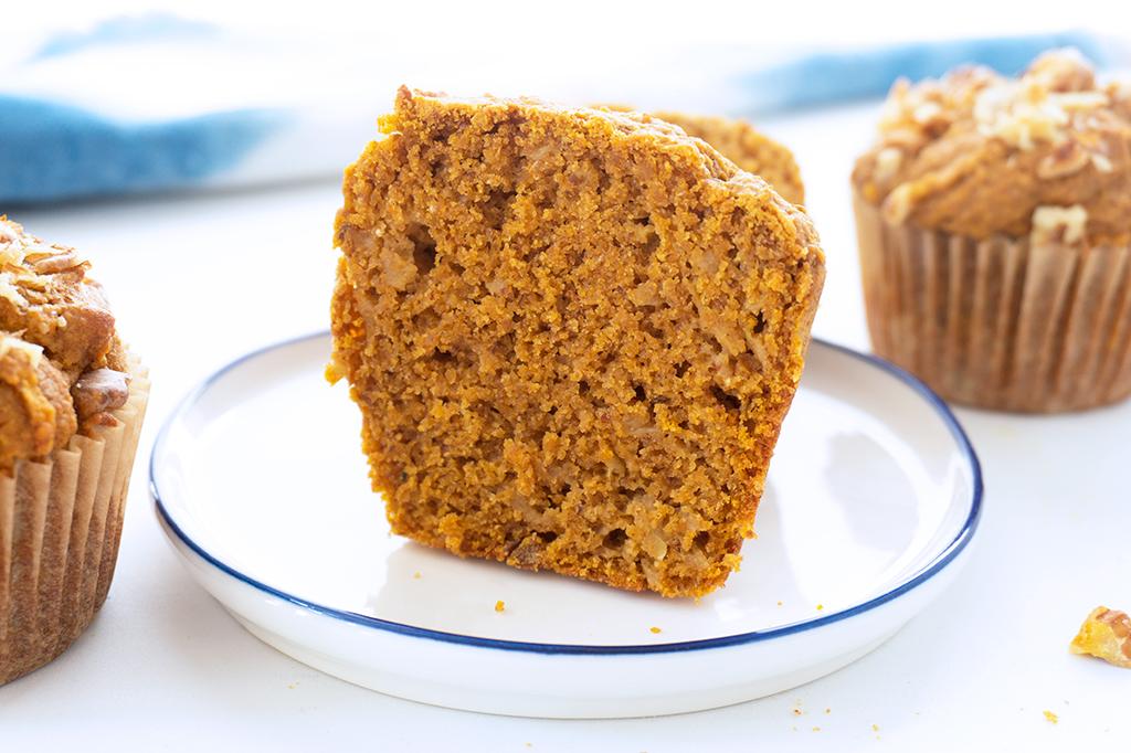 Healthy Whole Wheat Pumpkin Muffins cut in half