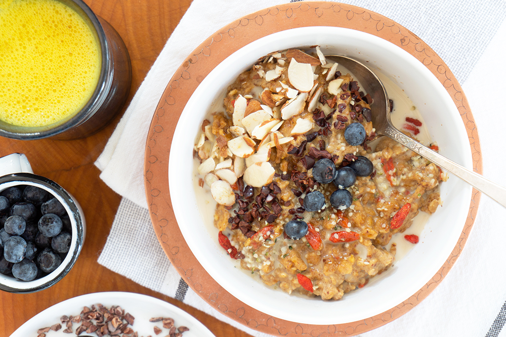 Superfood Oatmeal Bowl with almonds and blueberries