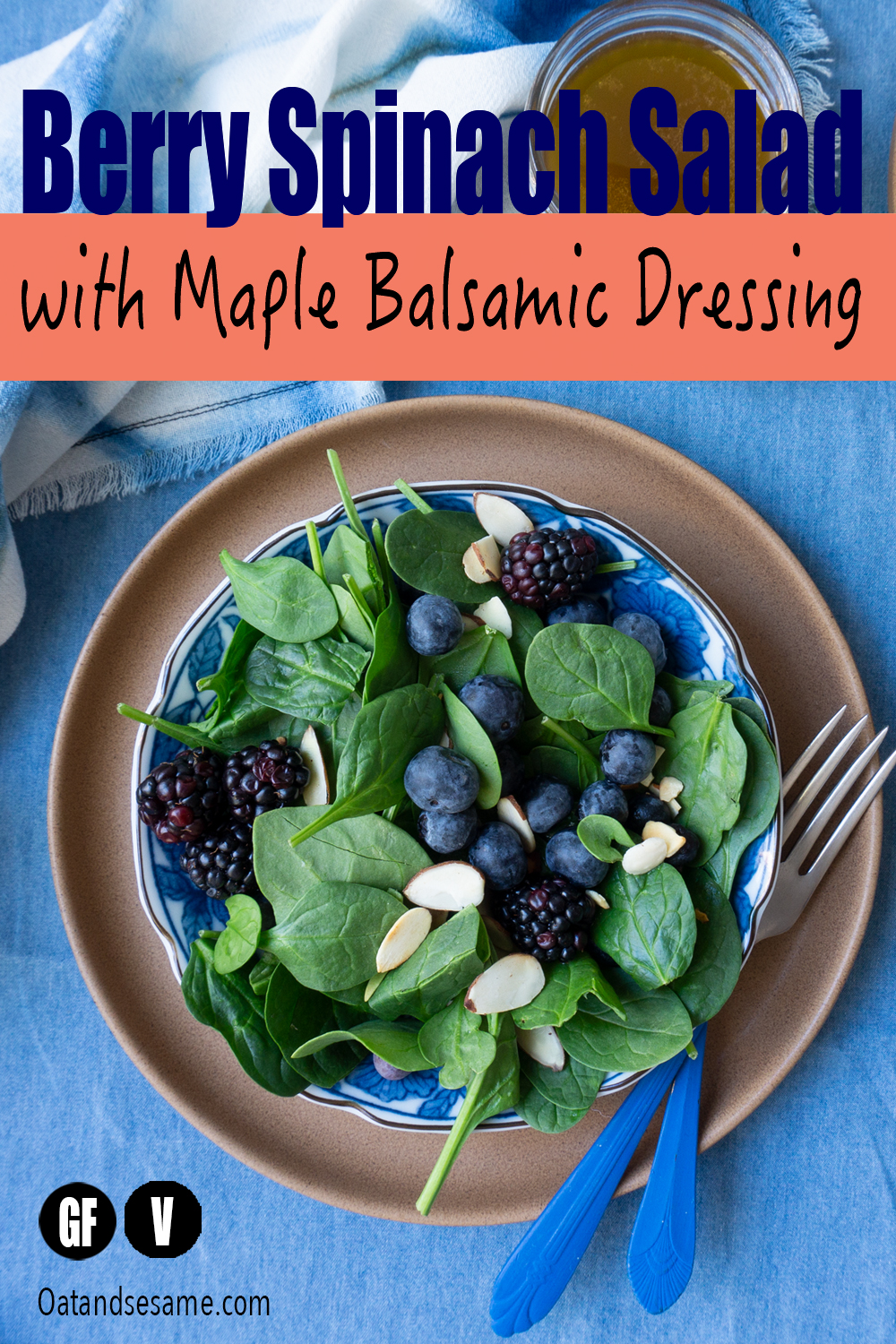 This classic Berry Spinach Salad is perfectly balanced with toasted almonds, fresh berries and dressed with maple balsamic vinaigrette. #Salad #Spinach #vegan #vegetarian #healthrecipes at OatandSesame.com #oatandsesame